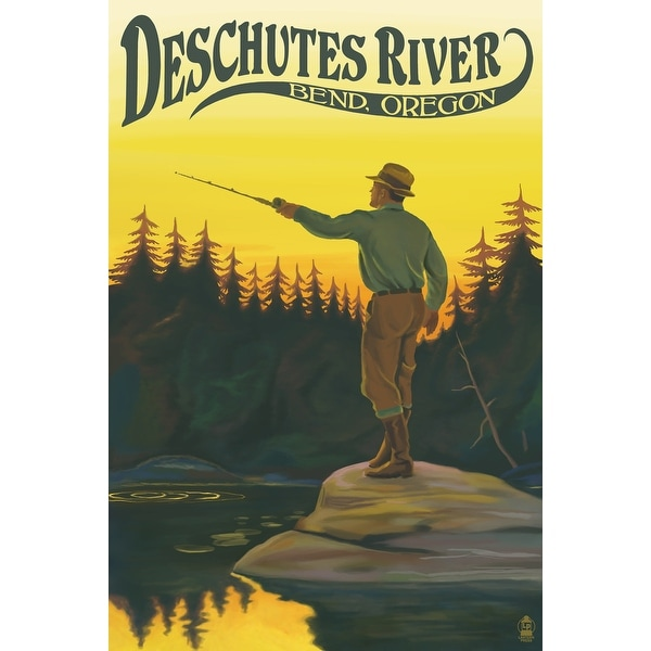 Bend, OR Deschutes River Fisherman - LP Artwork (Acrylic Wall Clock) - acrylic wall clock