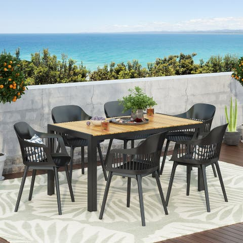 Strada Outdoor Wood and Resin Outdoor 7 Piece Dining Set by Christopher Knight Home