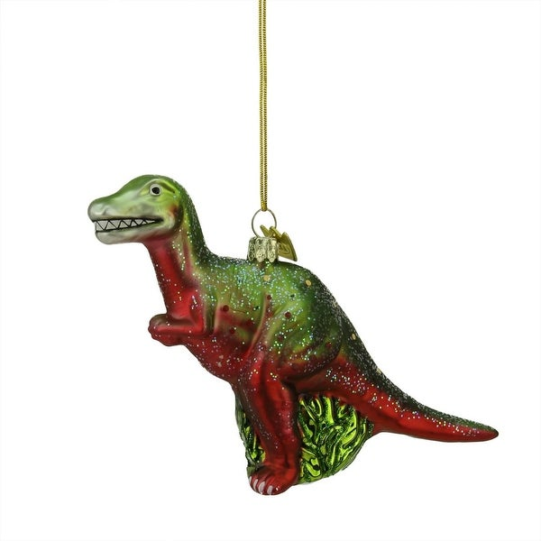 "5.75"" Noble Gems Green and Red Prehistoric Tyrannosaurus Dinosaur Christmas Ornament"