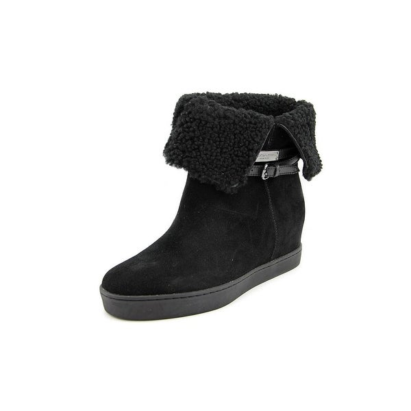 Coach Norell Women Round Toe Suede Black Mid Calf Boot