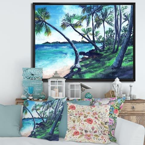 Designart 'Tropical Beach In Summer Paradise' Nautical & Coastal Framed Canvas Wall Art Print