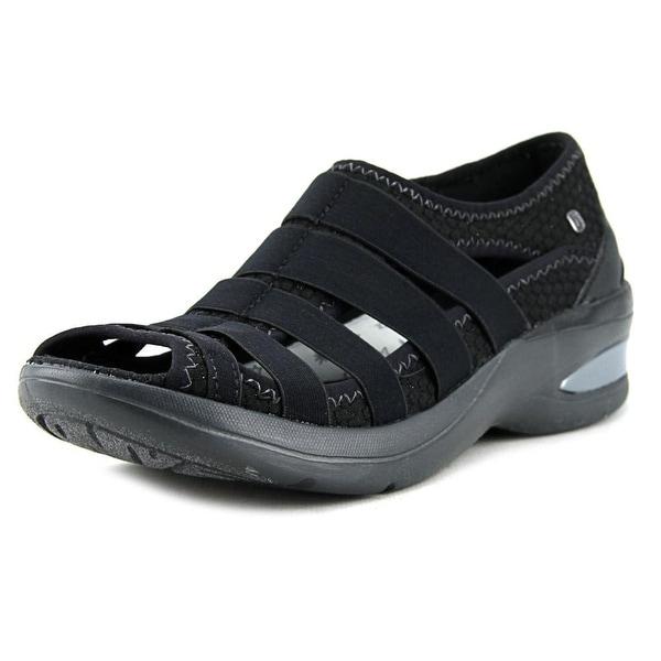 BZees Revival Women Open-Toe Canvas Black Sport Sandal