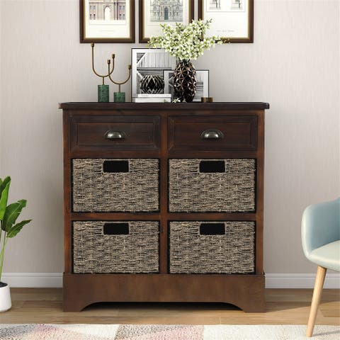 Merax Rustic Storage Cabinet with Two Drawers and Four Fabric Basket