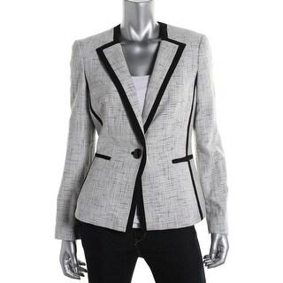 Kasper Womens Tweed Metallic One-Button Blazer - 14