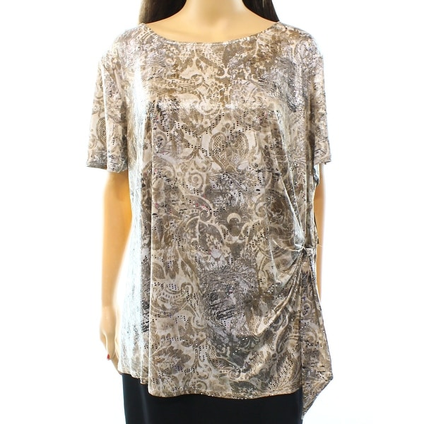 MSK NEW Beige Taupe Women's Size 3X Plus Side-Tie Sequin Shimmer Blouse