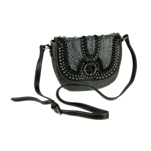 Montana West Concho Collection Floral Embossed Crossbody Saddle Bag
