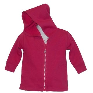 Little Girls Crystal Zipper Fuchsia Hoodie With Pockets 5-10 (Option: 7)