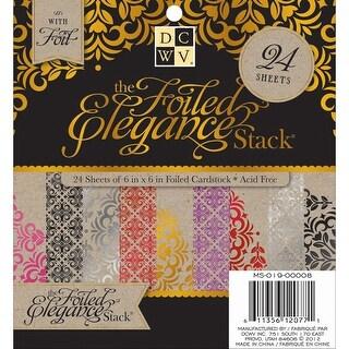 """Dcwv Cardstock Stack 6""""X6"""" 24/Pkg-Foiled Elegance, 12 Designs/2 Each"""
