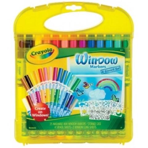 Crayola 04-5229 Washable Window Markers & Stencil Set