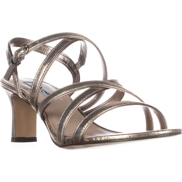 Nina Genaya Strappy Heeled Dress Sandals, Taupe Reflective