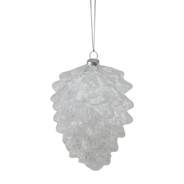 """5"""" Clear Snow Dusted Glass Pine Cone Christmas Ornament"""