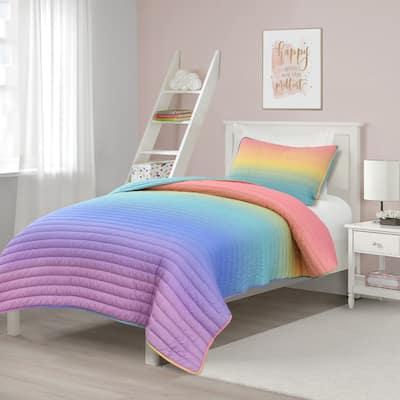 Lush Decor Rainbow Ombre Quilt Set