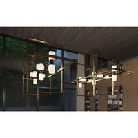"""Tech Lighting 700MDCH42SCR ModernRail 49-1/2"""" Wide Integrated LED Linear Chandel - Aged Brass/Glass Cylinders - N/A"""