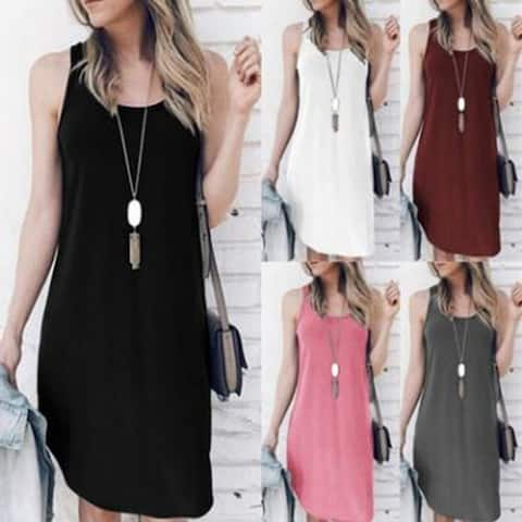 2019 New Women's Clothing Sleeveless Irregular Dress