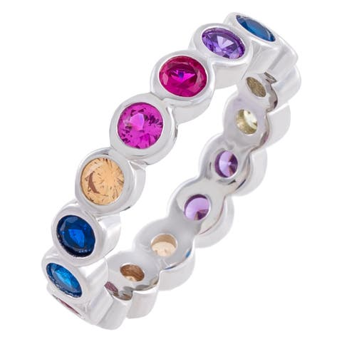 Rainbow Colored Cubic Zirconia Round-Cut Bezel Set Eternity Band Ring, Sterling Silver