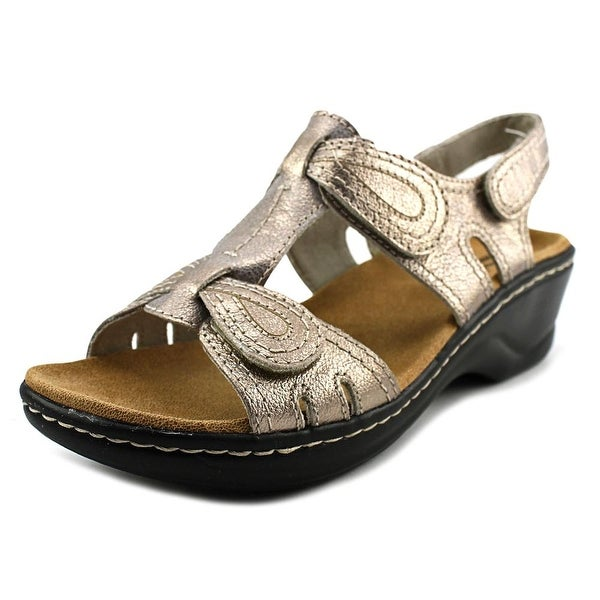 Clarks Narrative Lexi Walnut Q Women W Open Toe Leather Gold Wedge Sandal