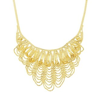 Eternity Gold Scalloped Bead Bib Necklace in 14K Gold - Yellow
