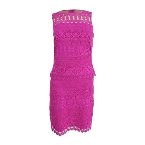 Lauren by Ralph Lauren Women's Sheer-Yoke Lace Dress