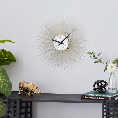 Gold Metal Contemporary Wall Clock 19 x 19 x 1 - 19 x 1 x 19