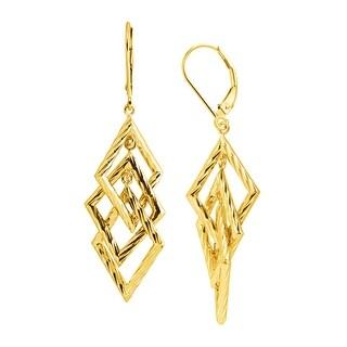 Just Gold Triple Diamond-Shape Drop Earrings in 14K Gold - YELLOW