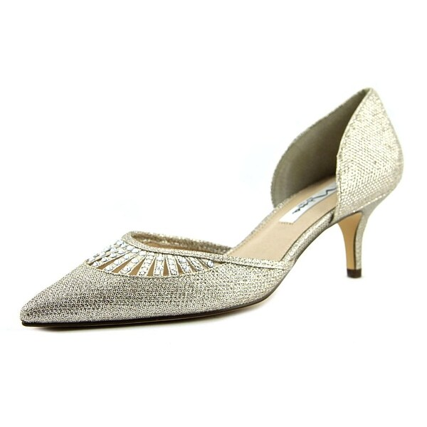 Nina Tamay Women Pointed Toe Canvas Silver Heels