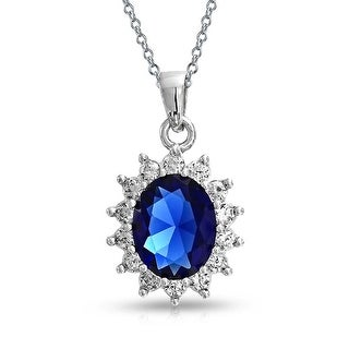 Vintage Style Royal Blue Imitation Sapphire AAA CZ Oval Halo Crown Pendant Necklace For Women 925 Sterling Silver