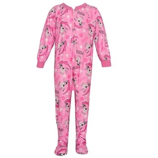 Mon Petit Baby Girls Pink Zipper Cat Print Overall Footed Pajama