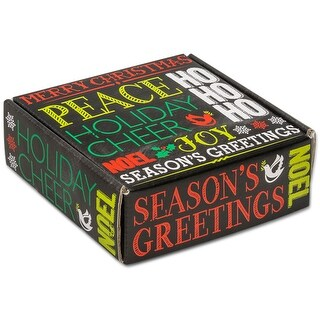 """Pack Of 6, 6 X 6 X 2"""" Holiday Greetings Chalkboard Boxes Auto Lock Boxes 1-Piece W/Fold-Over Lid"""