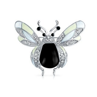 Bling Jewelry White and Black Enamel Crystal Honey Bee Insect Brooch