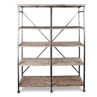 "74.25"" Brown and Black Decorative Frame Shelving Unit with Adjustable Shelf"