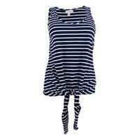 Maison Jules Women's Cotton Tie-Hem Tank Top (M, Blue Notte Combo) - Blue Notte Combo - M