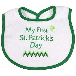 """Raindrops Unisex Baby Green """"My First St. Patrick's Day"""" Embroidered Bib - One size"""