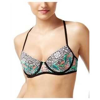 Hula Honey Ladies Swimsuit Bikini Top Medium M Multi Color Tropical Pulse Print