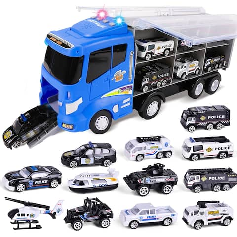 12-in-1 Die-cast Police Car Toy, Police Transport Car Carrier Toy