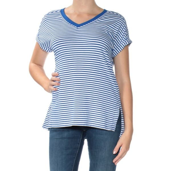1d44a8c74a7 Shop TOMMY HILFIGER Womens Blue Striped Short Sleeve V Neck T-Shirt Active  Wear Top Size: M - On Sale - Free Shipping On Orders Over $45 - Overstock -  ...