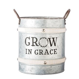 Pack of 2 Gray and Brown Grow In Grace Inspirational Bucket Planter with Handles 12.5