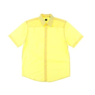 John Ashford Mens Shadow Stripe Short Sleeves Button-Down Shirt - S