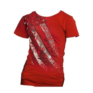 Cowgirl Up Western Shirt Girls S/S Crew Neck Print Red CUY327