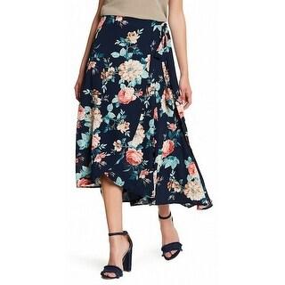 Bobeau NEW Blue Womens Size Medium PM Petite Floral-Print Maxi Skirt