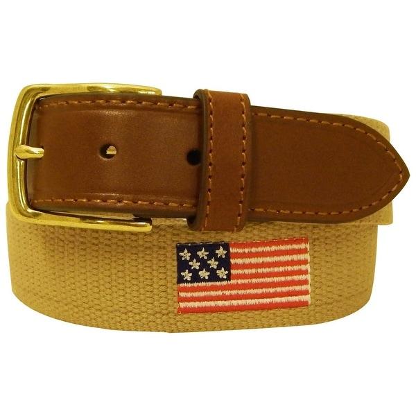 Danbury Western Belt Mens 35MM Web American Flag Khaki