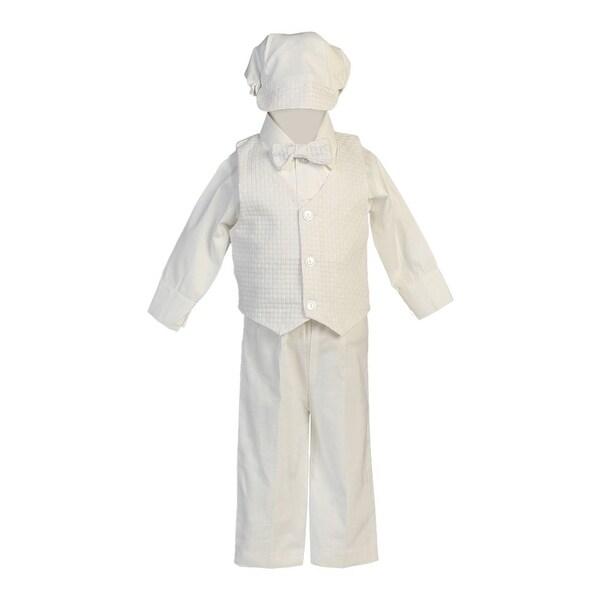 Baby Boys White Cotton Vest Pants Baptism Special Occasion Set 0-24M