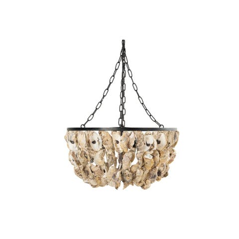 Round Oyster Shell Chandelier with 2 Lights - Natural