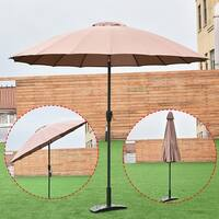Costway Outdoor 9ft Patio Umbrella Sunshade Cover Market Garden Cafe Crank Tilt Tan