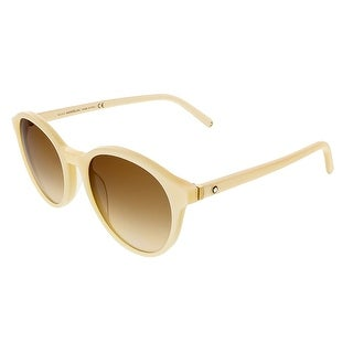 Montblanc MB505/S 25G Pearl White Round Sunglasses - Pearl White - 52-19-145