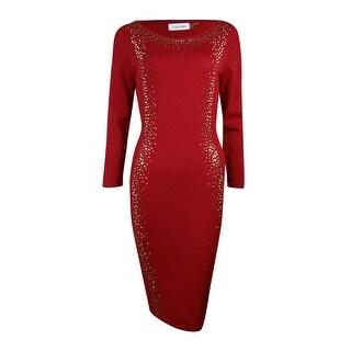 Calvin Klein Women's Studded Trim Knit Sweater Dress (L, Red) - L