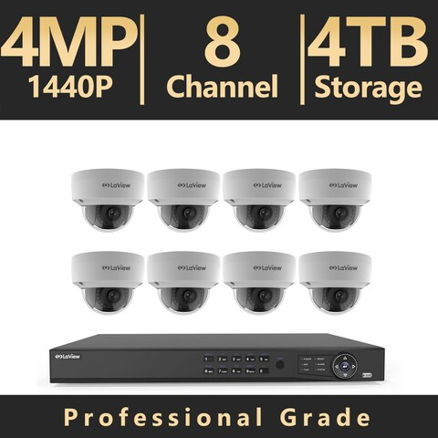 LaView 8 Channel UHD 4K IP NVR with (8) 4MP Dome Cameras and a 4TB HDD