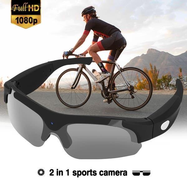 1f58aab18fa2 AGPtEK Full 1080P Spy Sun Glasses Camera HD Hidden Eyewear Video Recorder Sport  Sunglasses, Black