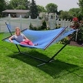 Sunnydaze Large 2-Person Rope Hammock with Spreader Bar & Hammock Stand - Thumbnail 4