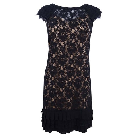 Jessica Simpson Women's Cap-Sleeve Tiered Lace Dress - Black/Tan