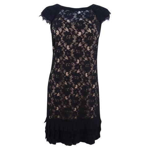 Jessica Simpson Women's Cap-Sleeve Tiered Lace Dress - Black/Tan